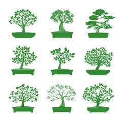 Green shape of Bonsai Trees. Vector Illustration.