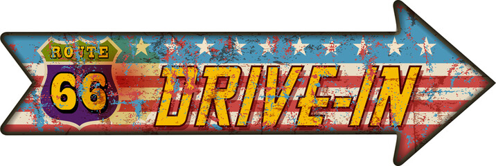 battered route 66 drive in sign, retro style, vector illu