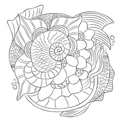 Black white isolated decorative hand drawn motive, two fishes in