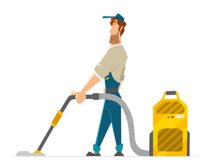 Vector character cleaner janitor man vacuum floor holding a vacuum cleaner