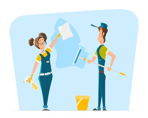 Vector character smile woman man uniform cleaning big window