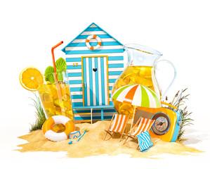 Colorful retro beach hut