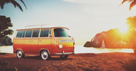Retro car on a beach
