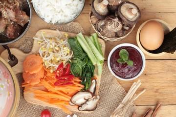 Making Bibimbap korean food delicious.