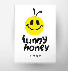 Vector simple flat honey logo with smiling cute be character.