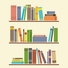 Bookshelf Graphic Vector Illustration.