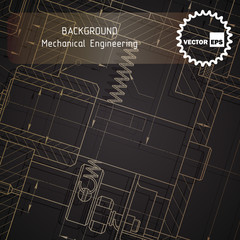 Background of mechanical engineering drawings on dark