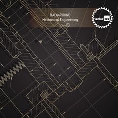 Background of mechanical engineering drawings on dark