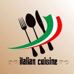 Menu. Cover for restaurants and cafes Italian cuisine. Logo.