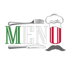 Menu. Cover for restaurants and cafes Italian cuisine. Logo.