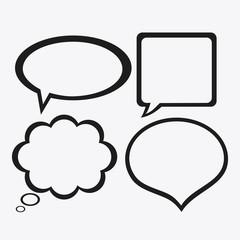 black and white Message bubble speech, editable vector