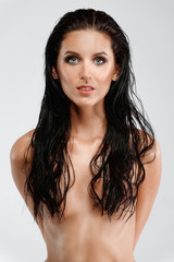 beautiful naked lady with wet skin and hair