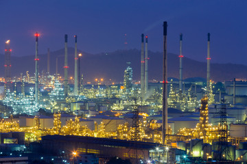 Twilight over oil refinery power plant