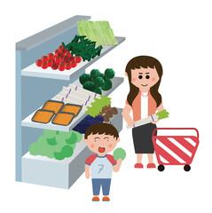 スーパーで買い物をする女の子