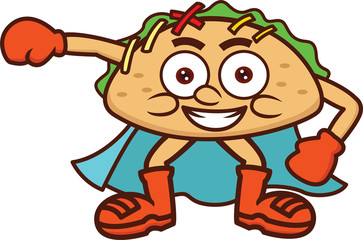 Super Taco Food Mascot Cartoon Illustration Isolated on White