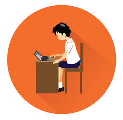 Modern flat student icon with long shadow effect