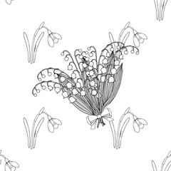 Seamless pattern with lilies of the valley