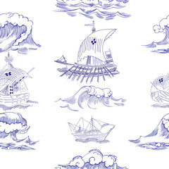 Seamless pattern with waves and ships