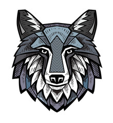 color Wolf head
