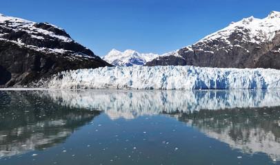 Panoramic view of Margerie glacier in Glacier Bay. Glacier Bay National Park and Preserve, Alaska, United States.