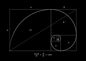 Golden section (ratio, divine proportion) and golden spiral on black