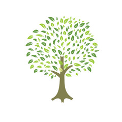 summer tree with green foliage vector file