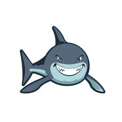 Smiling Strong Shark Simple Cartoon Illustration