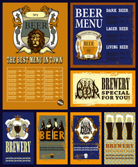 Design set for beer with beer menu.Design set contains beer menu design with coats of arms,head of lion,ornament type,beer glasses,beer bottle and text.