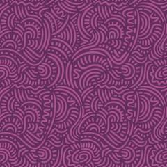 Purple Doodle Lines Seamless Pattern