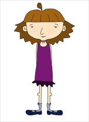 Skinny teenage girl in a purple dress.