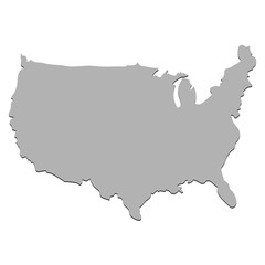 Map of the USA in gray, vector illustration