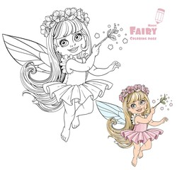 Little spring fairy girl with magic wand color and outlined pict