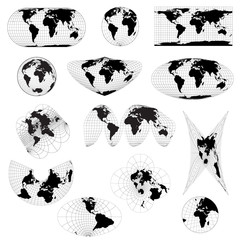 Set of different world projections. World view from space icon.