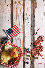 Summer: American Flag And Summertime Picnic Background