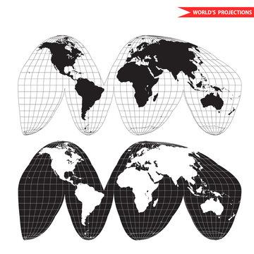 Goode homolosine projection. Orange peel world map on white background. Interrupted earth globe.