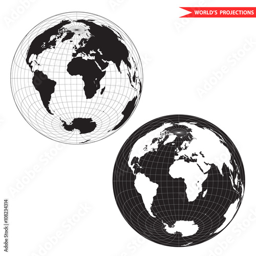 Lambert Azimuthal Equal Area World Map Projection. Black And White World  Map Vector Illustration