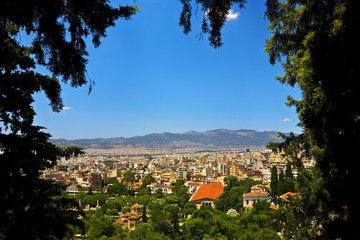 Greece. Athens. View of the Ancient Agora, the modern city in the background