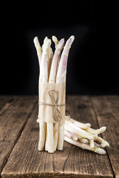Bunch of fresh white Asparagus (close-up shot)