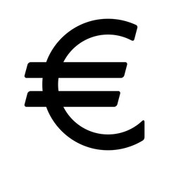 European euro currency or euro symbol flat icon for apps and websites