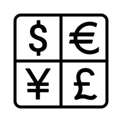 Dollar, Euro, Yen, Yuan and Pound currency exchange or currency symbols line art icon