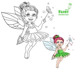 Beautiful little summer fairy with magic wand and butterflies co