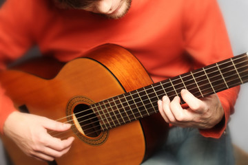 Acoustic guitar player spanish guitarist