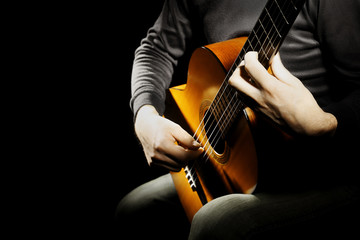 Acoustic guitar classical guitarist hands