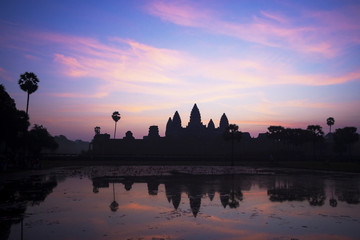 Angkor Wat temple at Sunrise in Siem Reap, Cambodia.