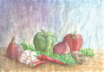 Vegetables on wooden table watercolor