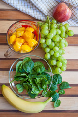 Healthy Fruit and Vegetable Green Smoothie Ingredients