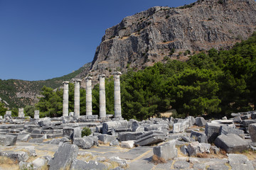 Ruins of ancient city of Priene in Turkey