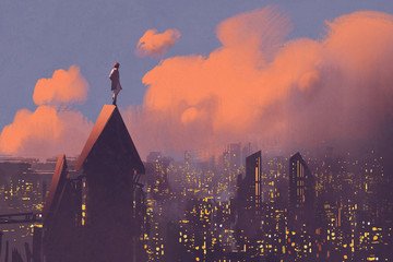 man watching over the city,illustration painting