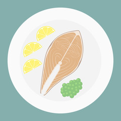Vector illustration of salmon steak with green peas and lemon slices top view.