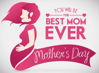 Pregnant Woman Fondling her Belly in Design for Mother's Day, Vector Illustration